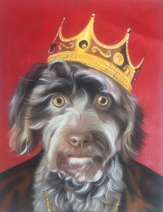 Canine king Dog Painting with Crown