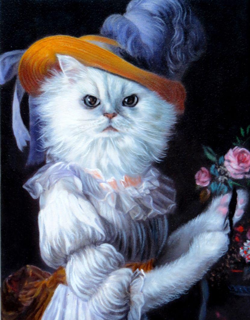 Cat Painted as Queen Marie Antoinette