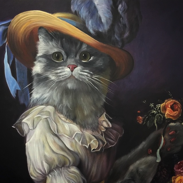 Cat Oil Portrait as Marie Antoinette