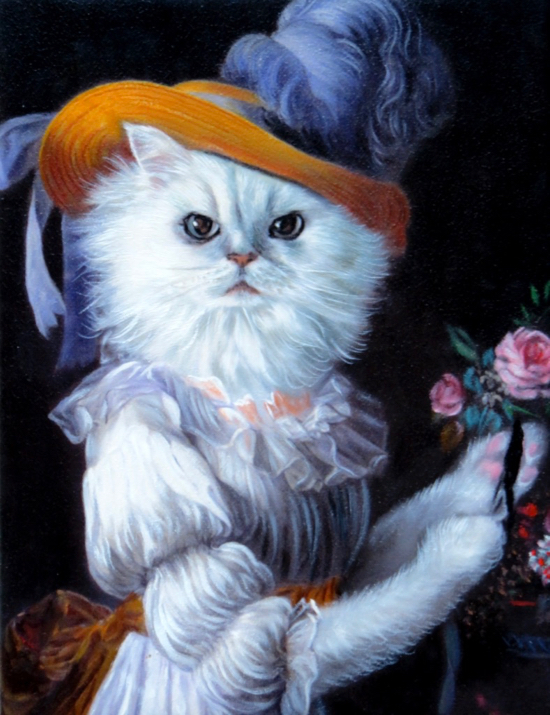 White cat painted as queen Marie Antoinette