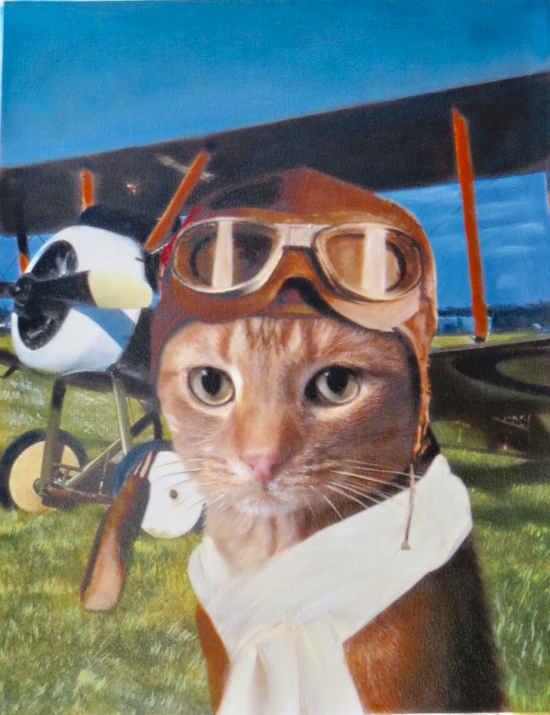 Feline painted like old time airplane pilot by Splendid Beast