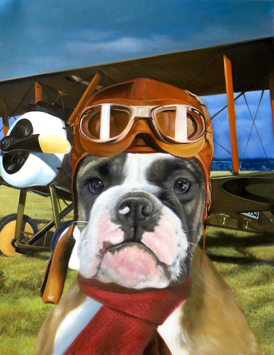 Dog Painted as a pilot