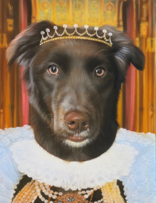 Dog painted as a queen