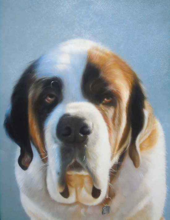Dog painted as is with blue background