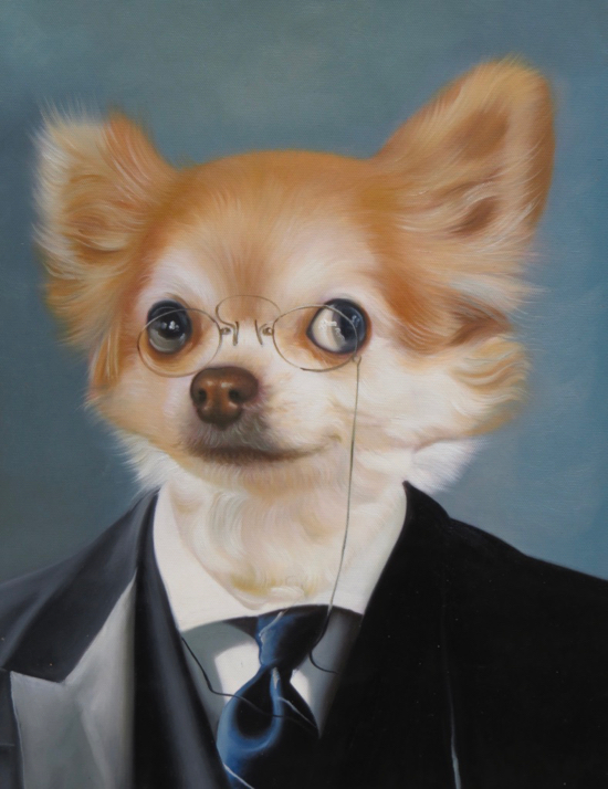 Little dog painted as American President Theodore Roosevelt