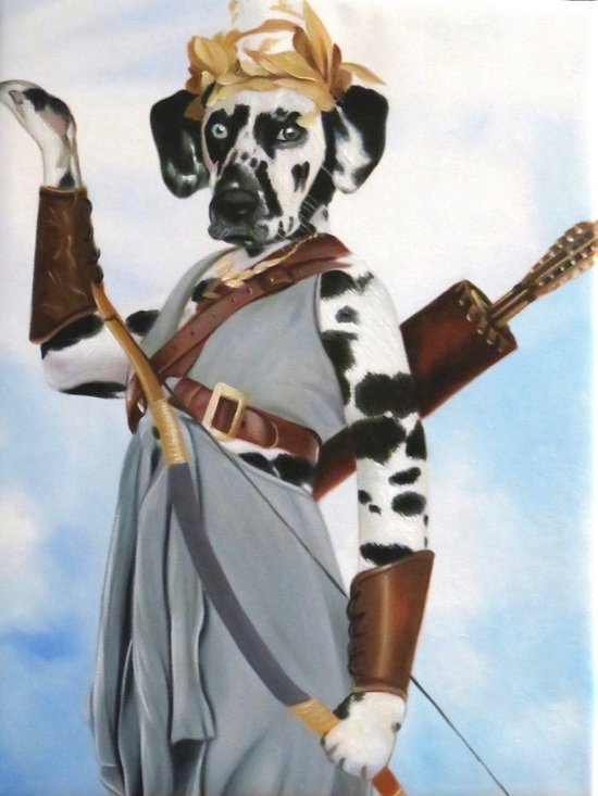 Dalmatian Painted like the Greek Godess Athena