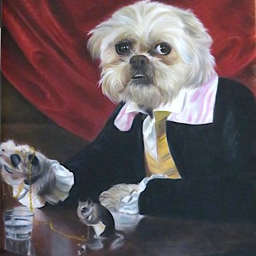 Dandy Dog painted with Squirrel and pocket watch