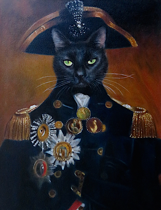 British Navy Vice Admiral Nelson painted as a cat