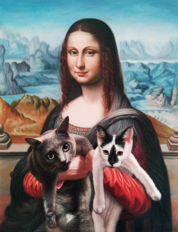 multi meowna lisa two cat oil painting splendid beast