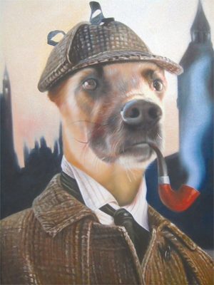 template Sherlock dog painting