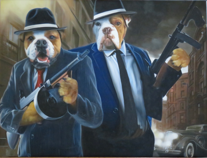 Two dogs painted like Dick Tracy style gangsters