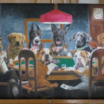 Eight pets turned into oil painting of dogs playing poker