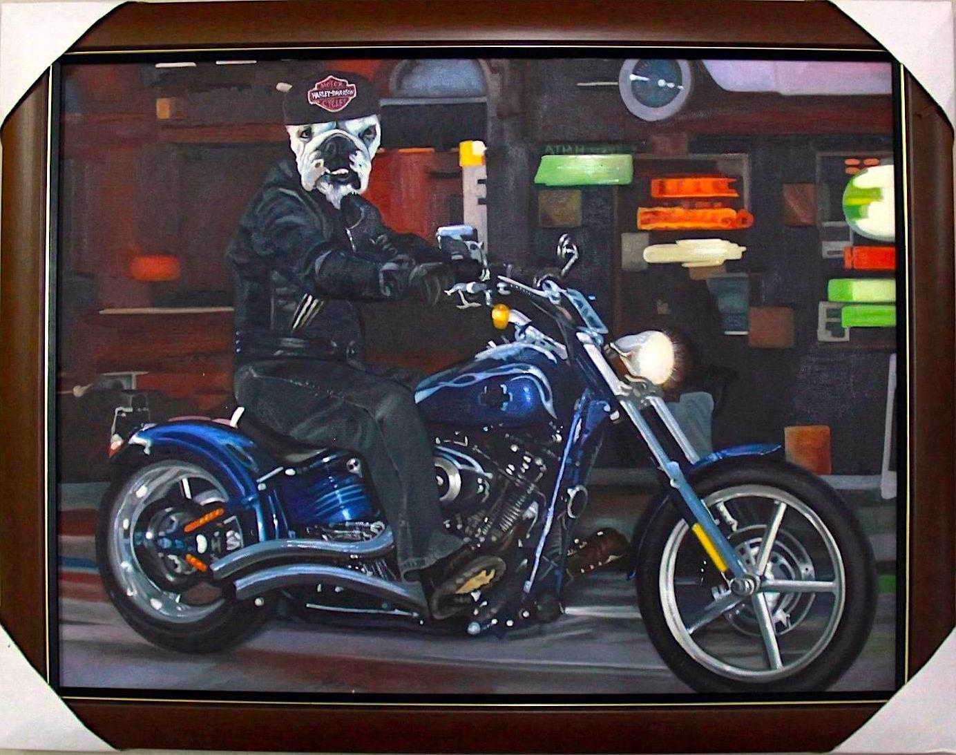 Bulldog Painting | Bulldog Riding a Harley Davidson Motorcycle