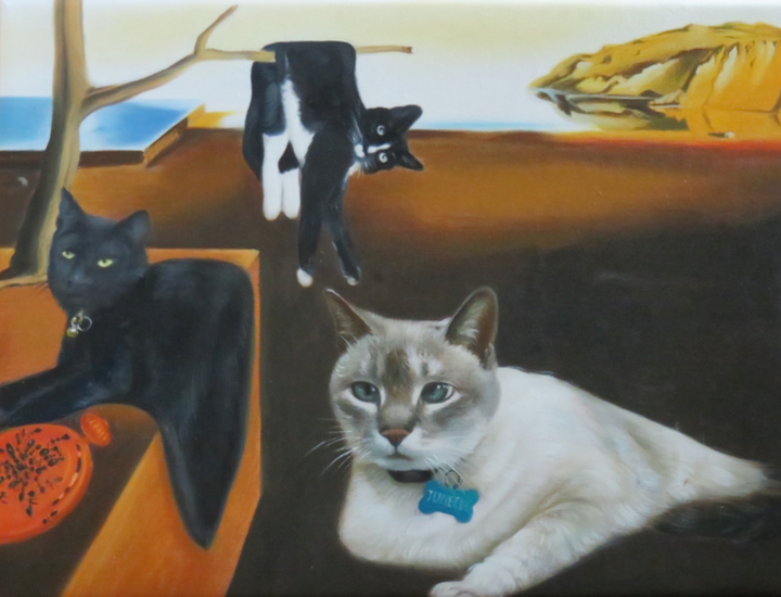 3 cats in Dali Persistence of Memory painting instead of melting clocks