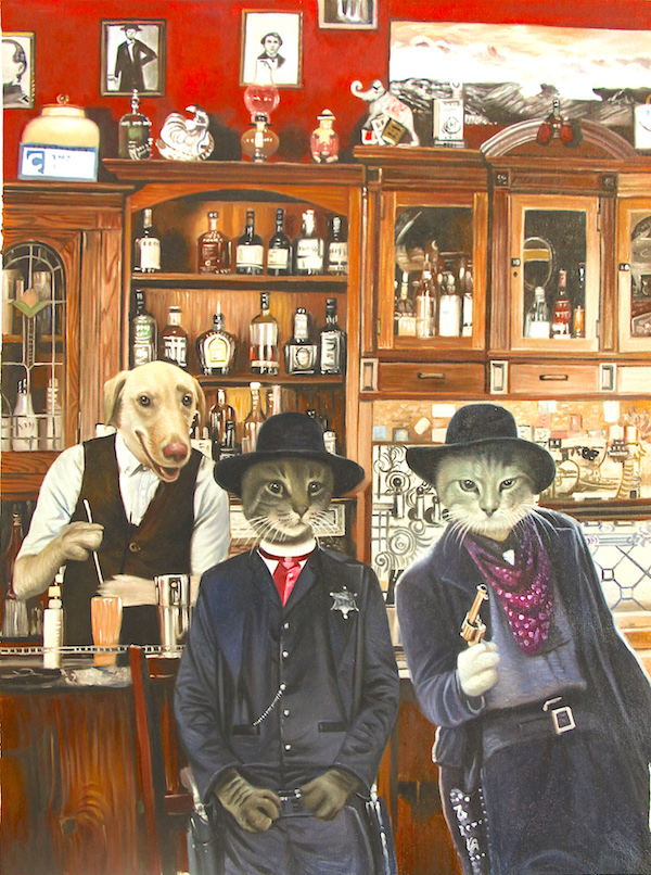 Three pets painted in an old western saloon