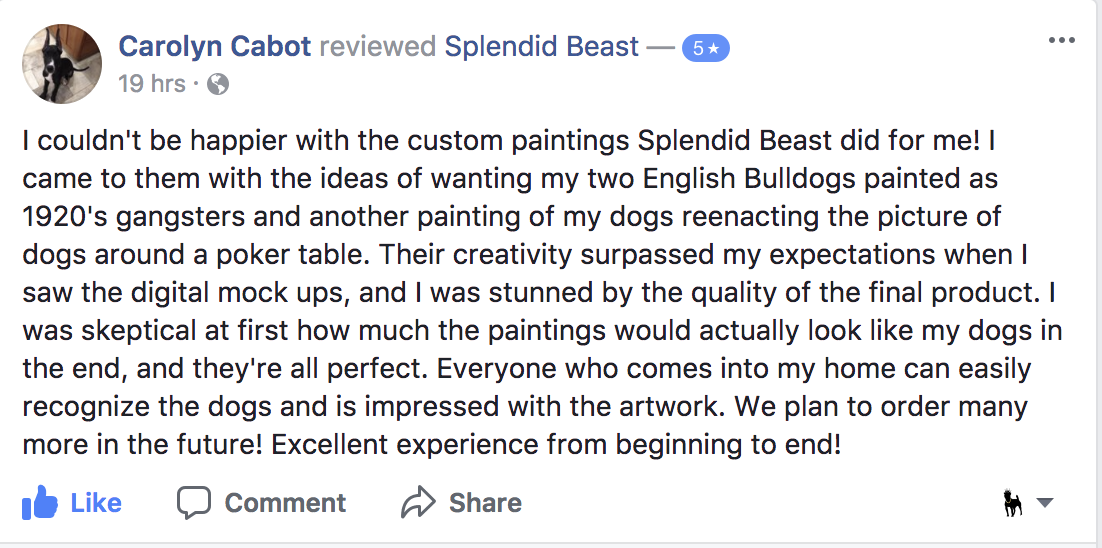 Facebook 5 star review for Splendid Beast pet paintings