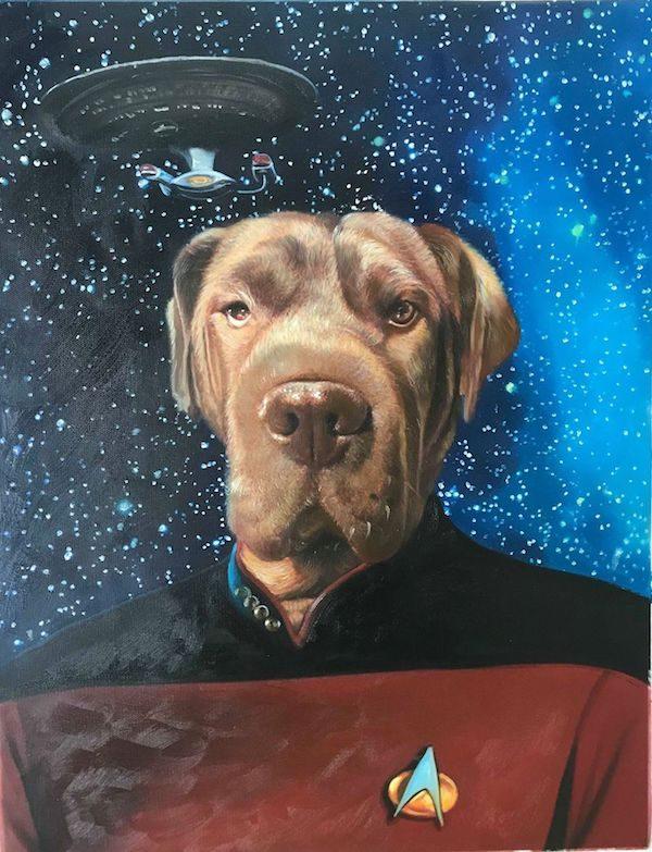 Dog Portrait Star Trek Painting