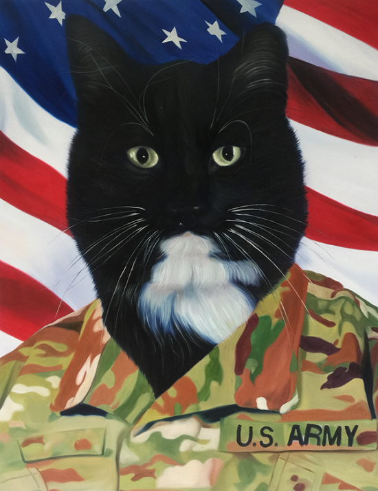 army cat oil painting