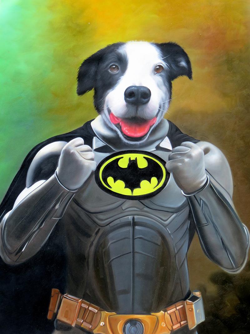 Batman Dog Painting