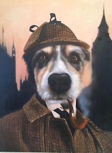 Detective dog painting