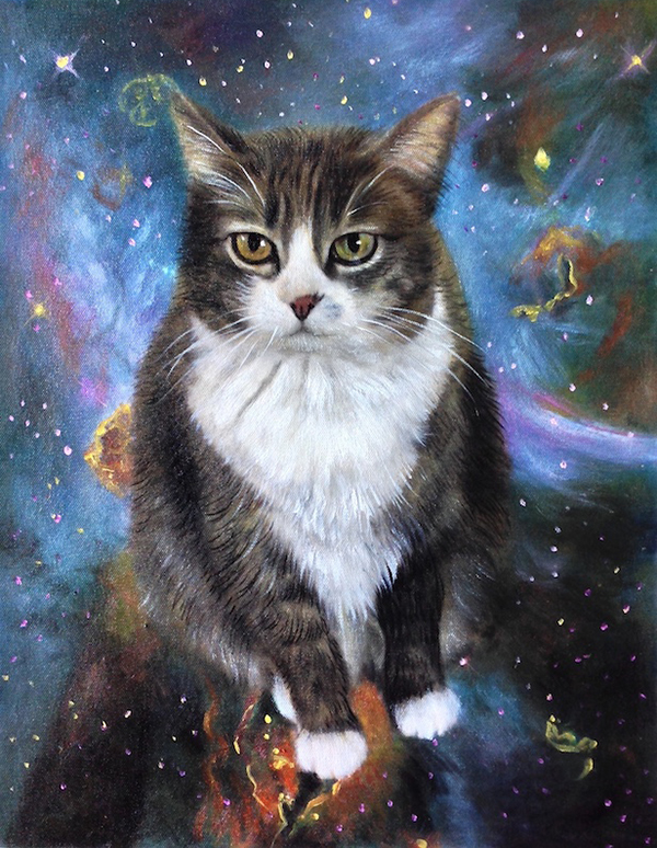 cat in space with nebula painting