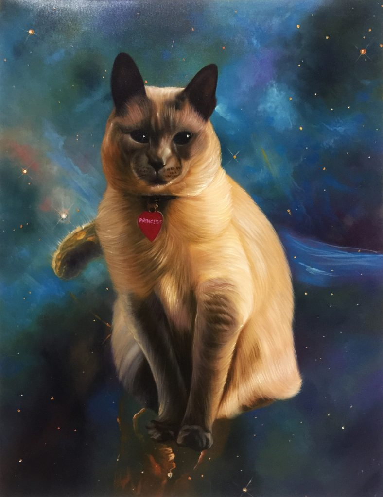cat in space painting