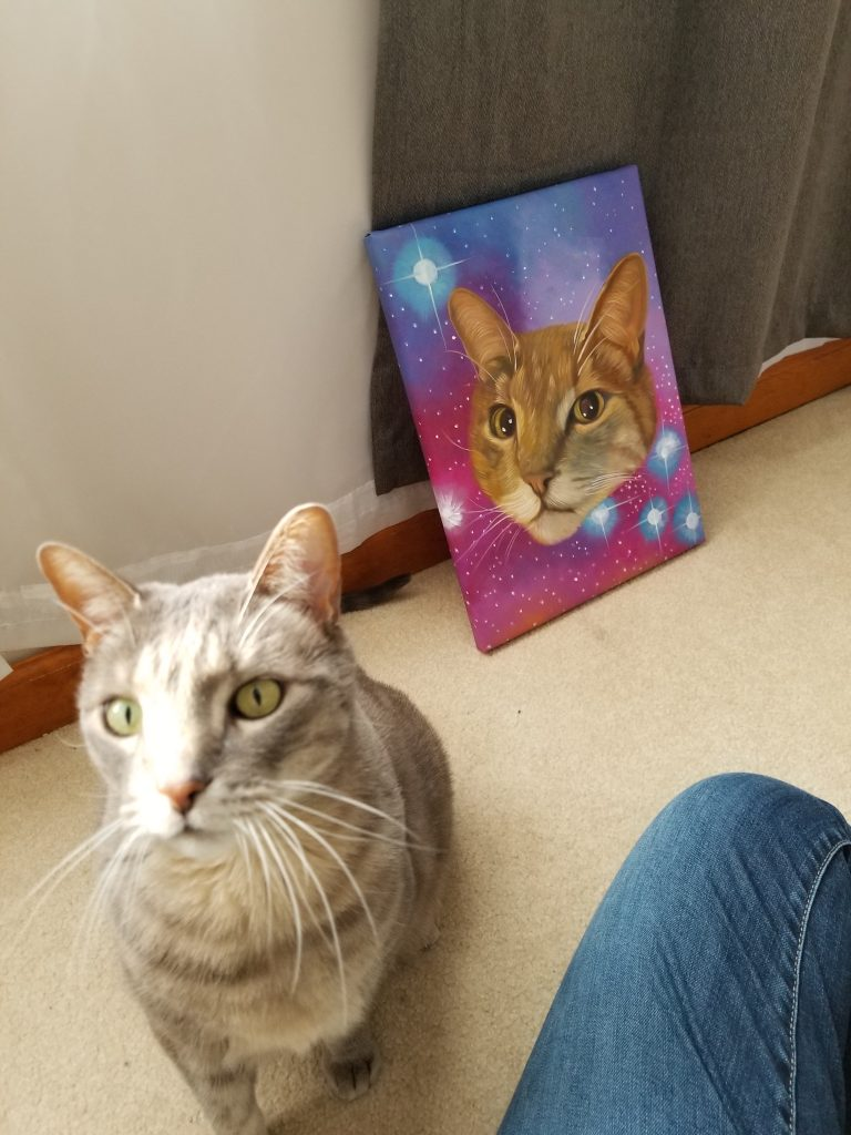 cat with cat painting splendid beast