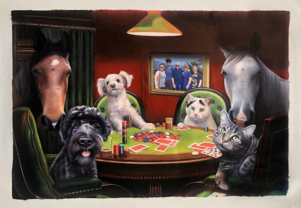 2 horses, 2 cats, and 2 dogs playing poker