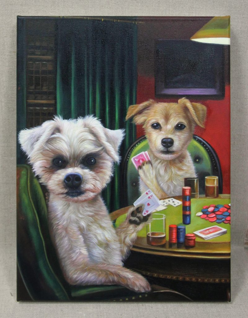 two dogs playing cards