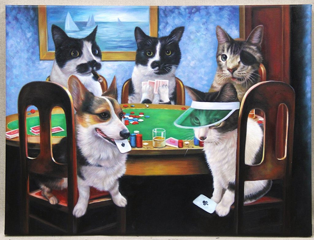 4 cats and dog playing poker