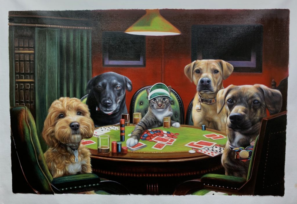 poker playing pets in costume