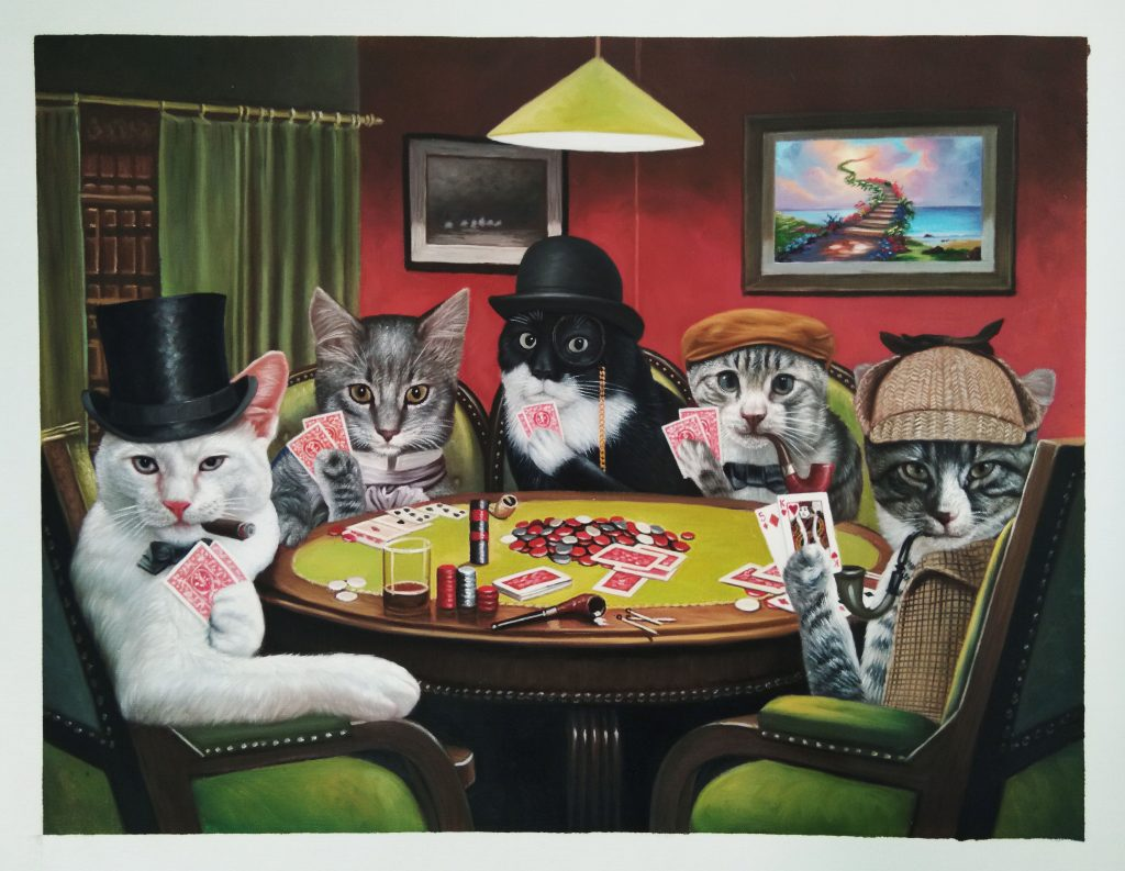 5 cats playing poker in costume