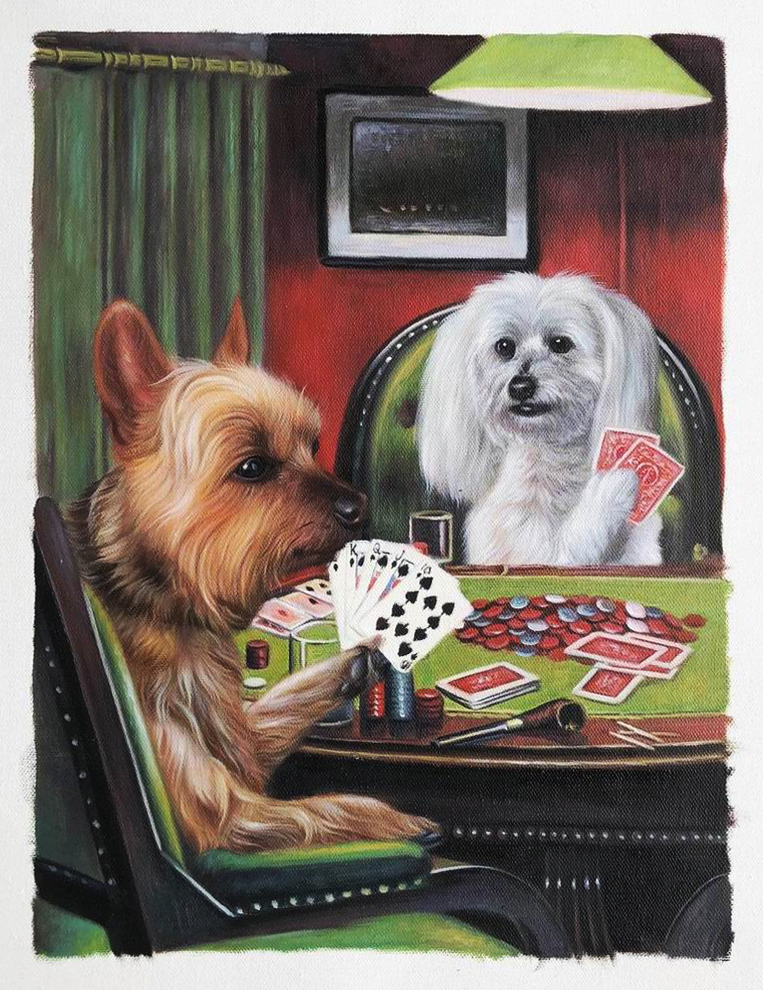 2 dogs playing poker together