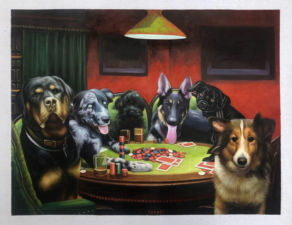 6 dogs at a table with cards
