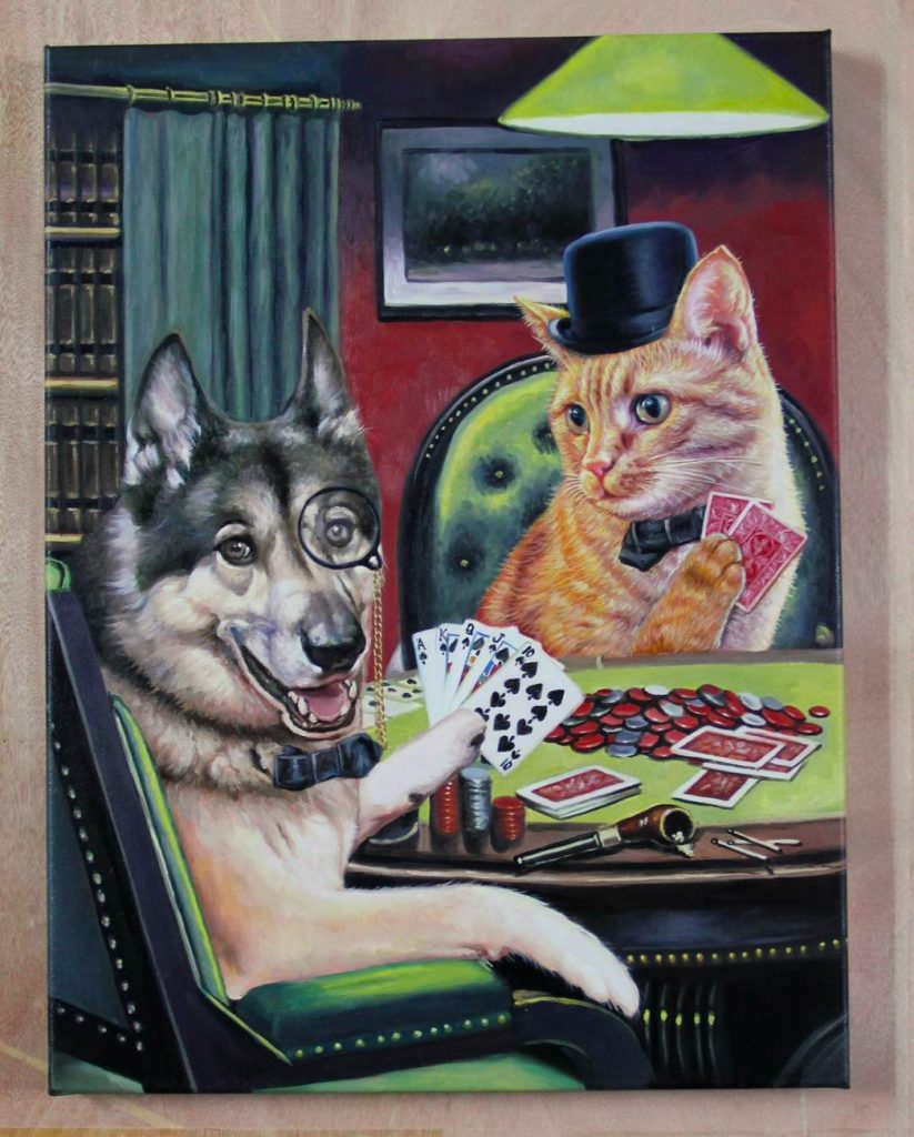dog and cat playing poker