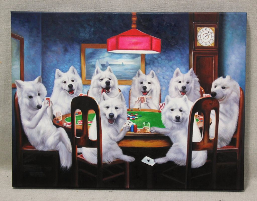 8 dogs play cards together