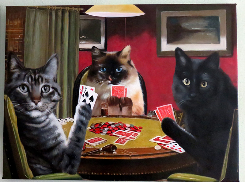 cats playing poker