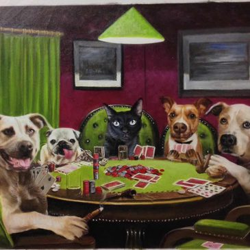 pets playing poker