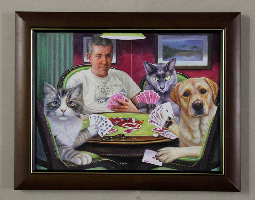 owner playing poker with his pets