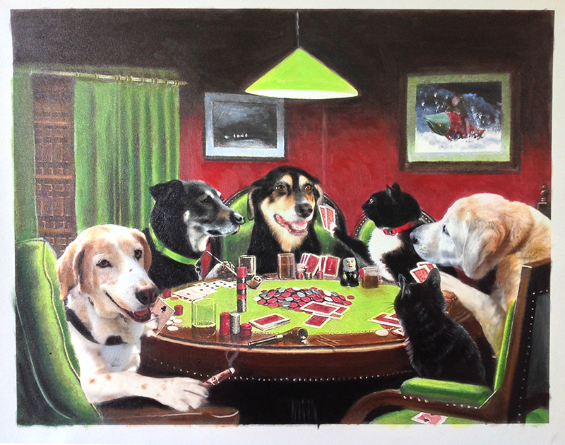 dogs and cats playing poker