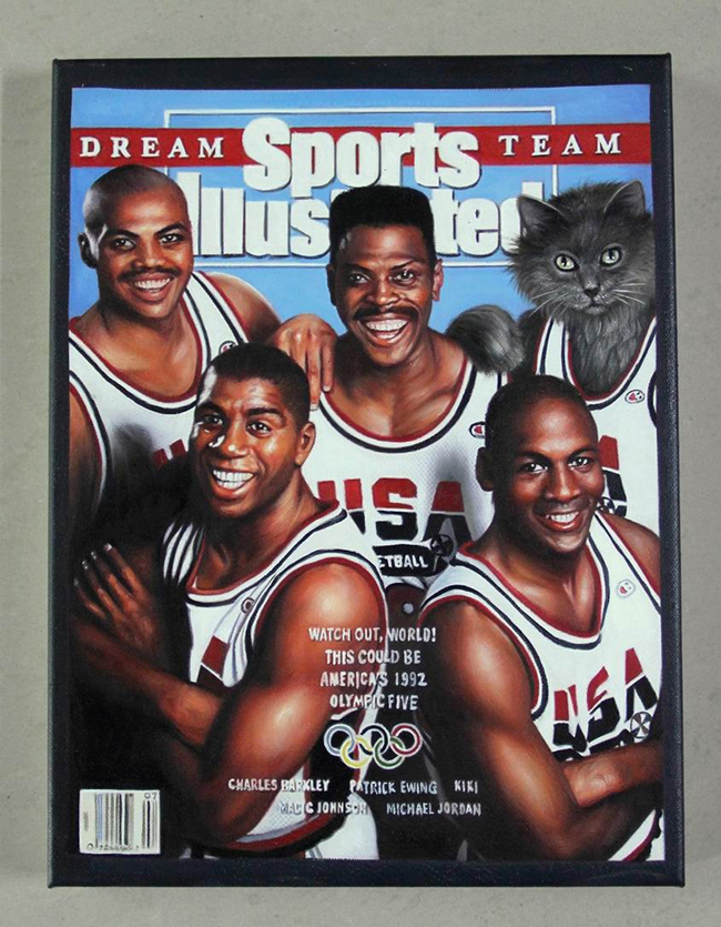 Sports Illustrated cover NBA basketball cat painting