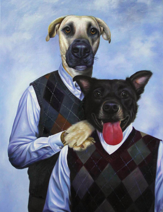 step-siblings two dogs custom oil painting