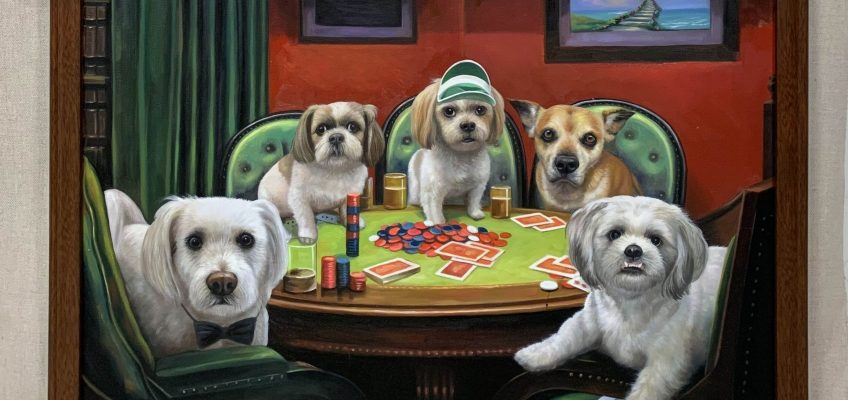 5 dogs playing poker painting