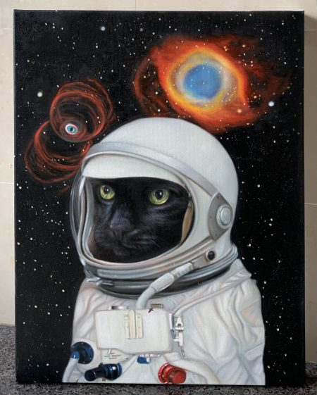Spaceboy influencer space cat painting