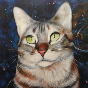 space cat art pet painting