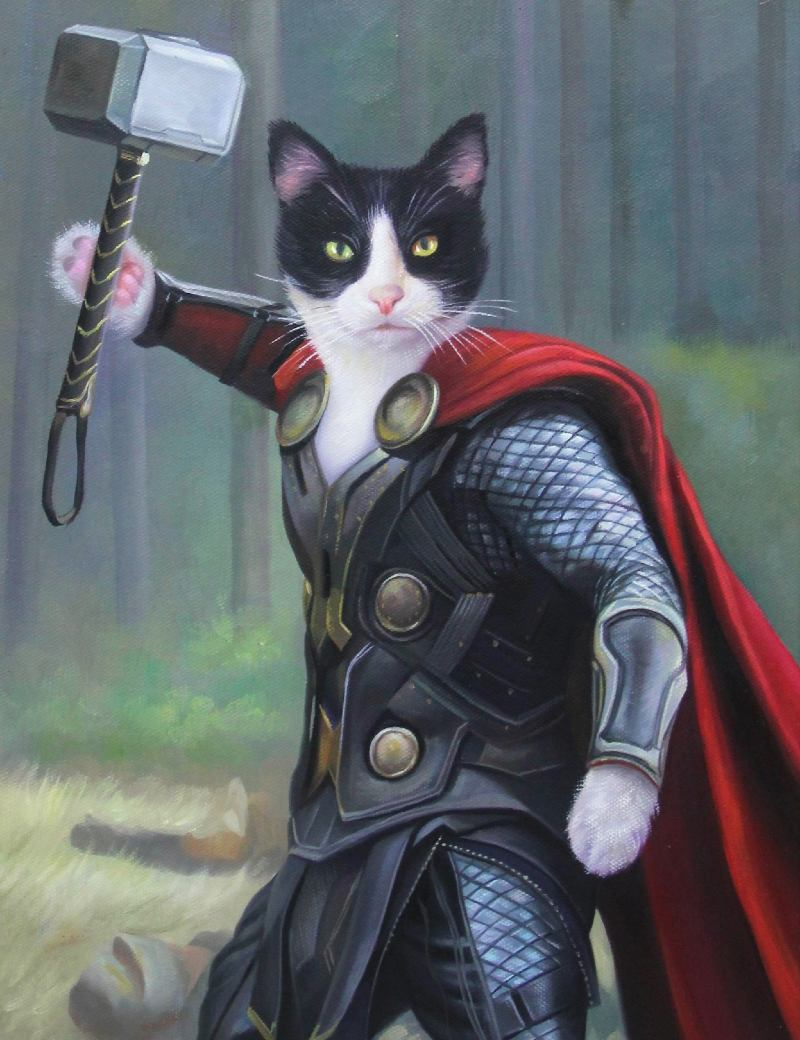 cat painting of thor