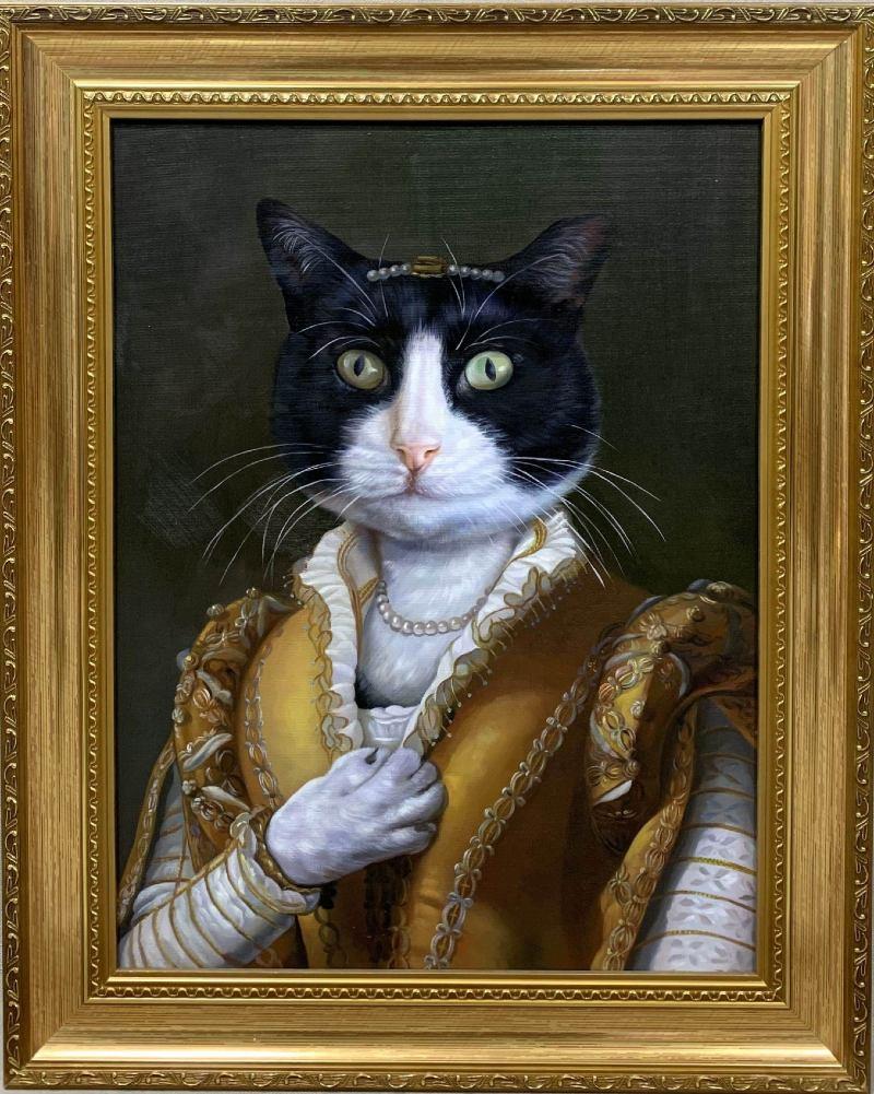 golden framed cat painting