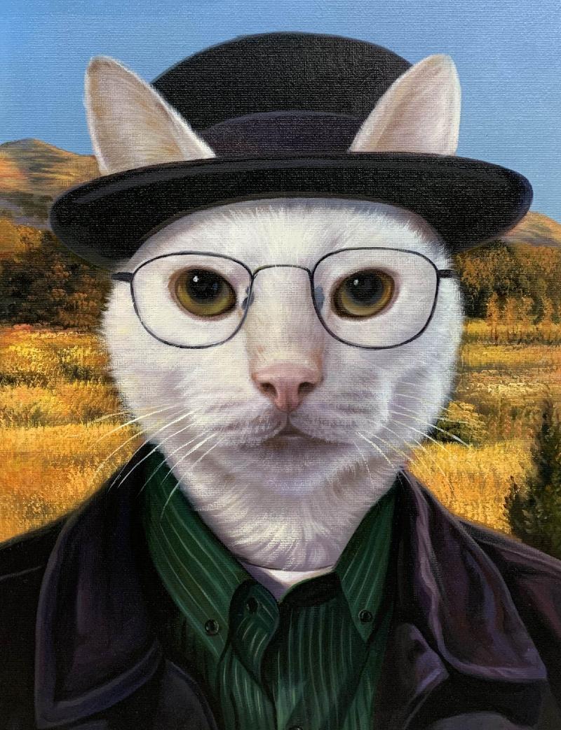 walter white cat portrait
