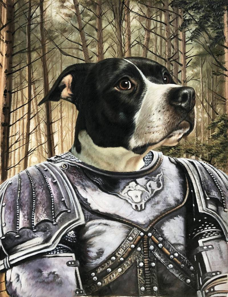 knight dog painting