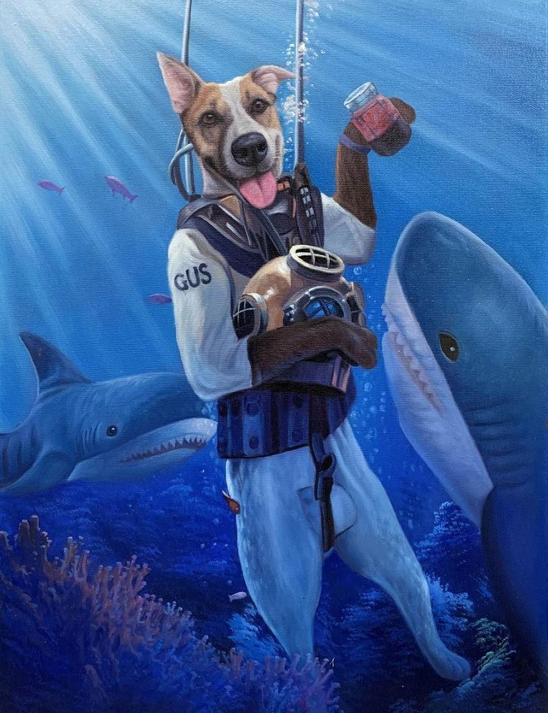 diving suit dog portrait